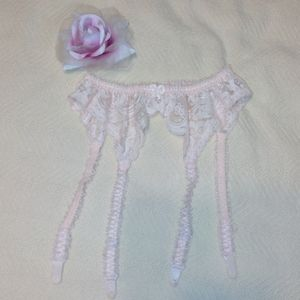 Baby pink sexy lace garter belt with stocking clip